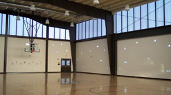 Image of gymnasium equiped with SolaQuad wall lights