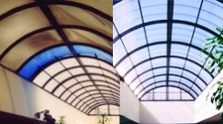Image of ceiling installed with Acrylic & Polycarbonate Retrofits showing before and after